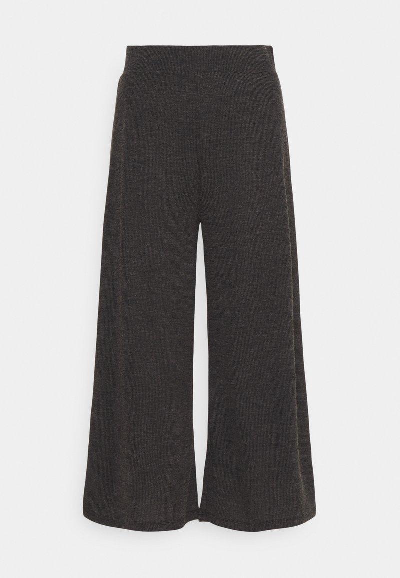 Even&Odd - WIDE LEG RIBBED TROUSERS - Kalhoty - mottled dark grey