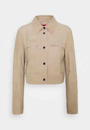MERITO - Leather jacket - estrella brown