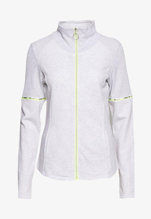 ONPALYSSA ZIP TALL - veste en sweat zippée - white melange/safety yellow