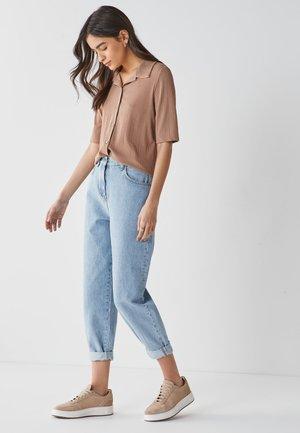 Button-down blouse - tan