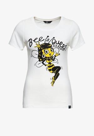 SLIM FIT MIT RUNDEM AUSSCHNITT UND PRINT B - Print T-shirt - offwhite