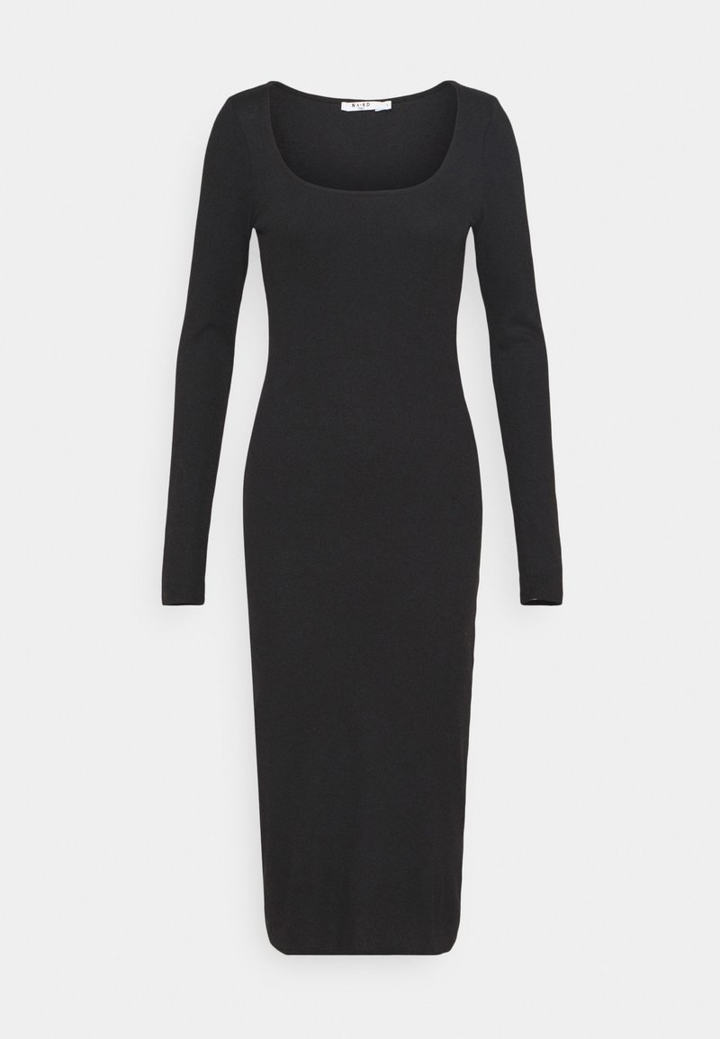 NA-KD - ROUND NECK DRESS - Maxikjole - black