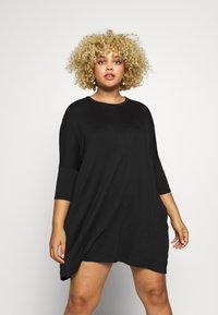 Missguided Plus - OVERSIZED DRESS - Trikoomekko - black - 0