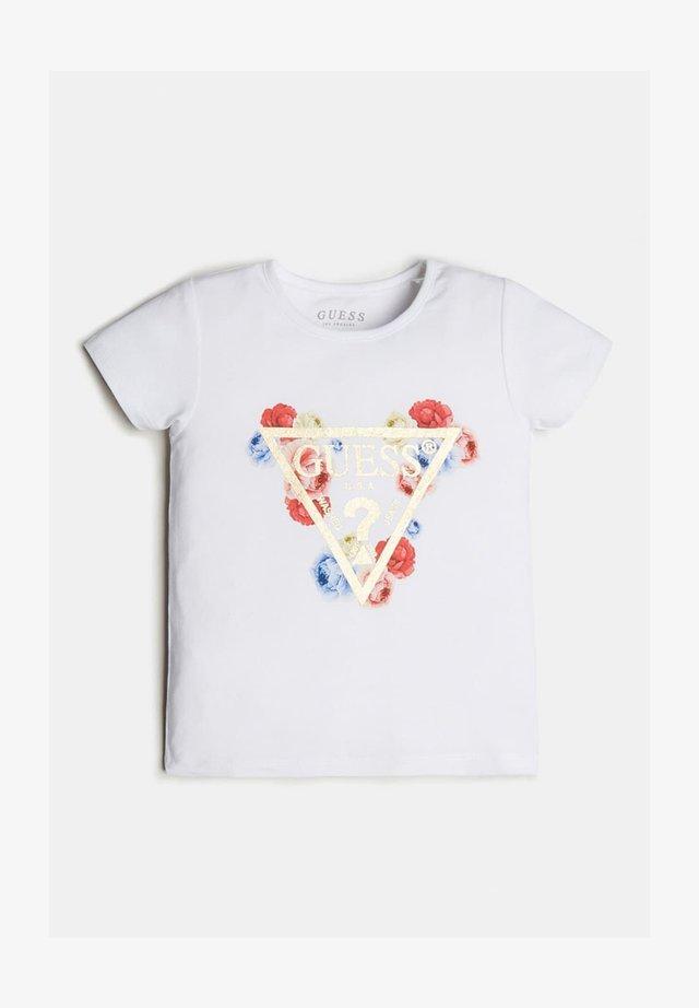 LOGO TRIANGLE PAILLETTES - Camiseta estampada - blanc