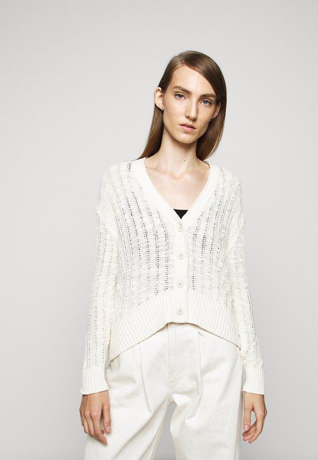 POINT SUR TEXTURED VNECK CARDIGAN - Cardigan - natural