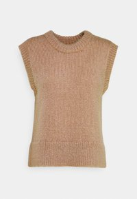 PIECES Tall - PCGRETA O NECK VEST - T-shirt imprimé - warm taupe - 0