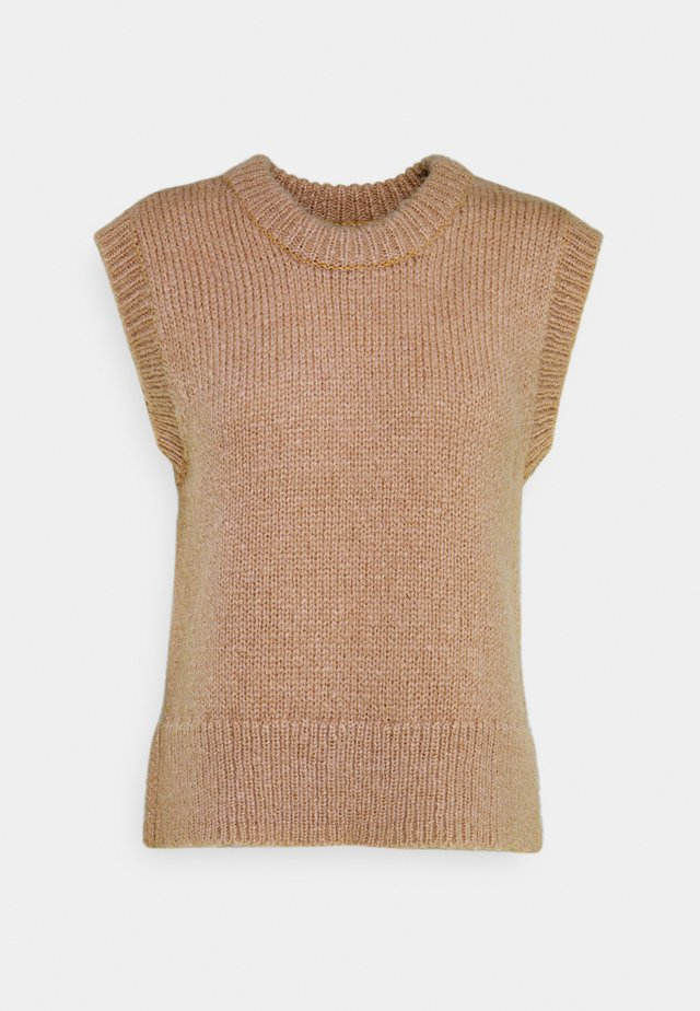 PCGRETA O NECK VEST - T-shirts print - warm taupe