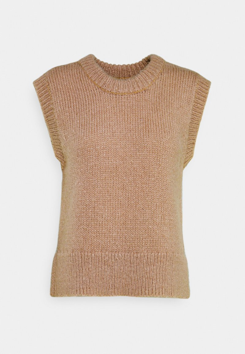 PIECES Tall - PCGRETA O NECK VEST - T-shirt imprimé - warm taupe