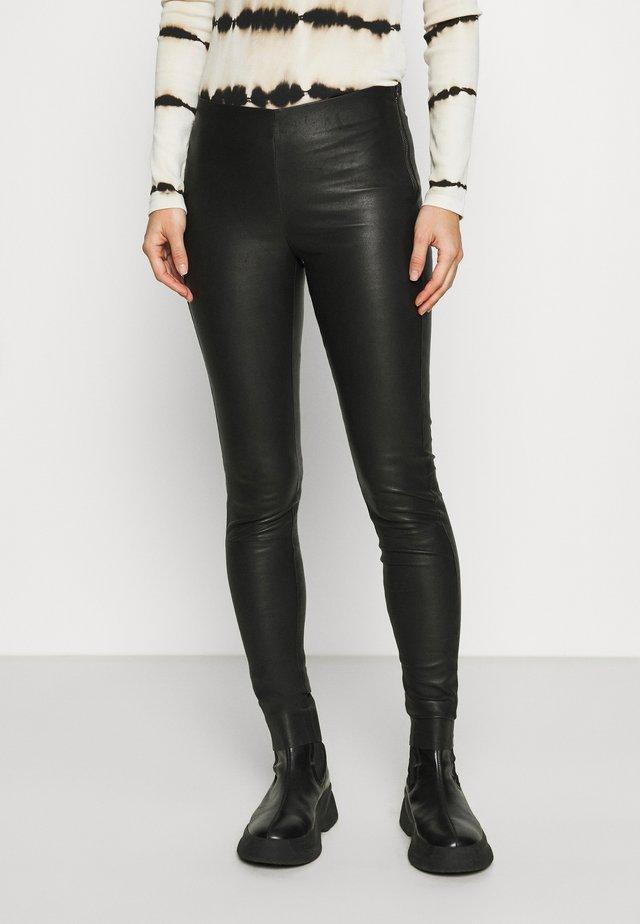NEX - Spodnie skórzane - black