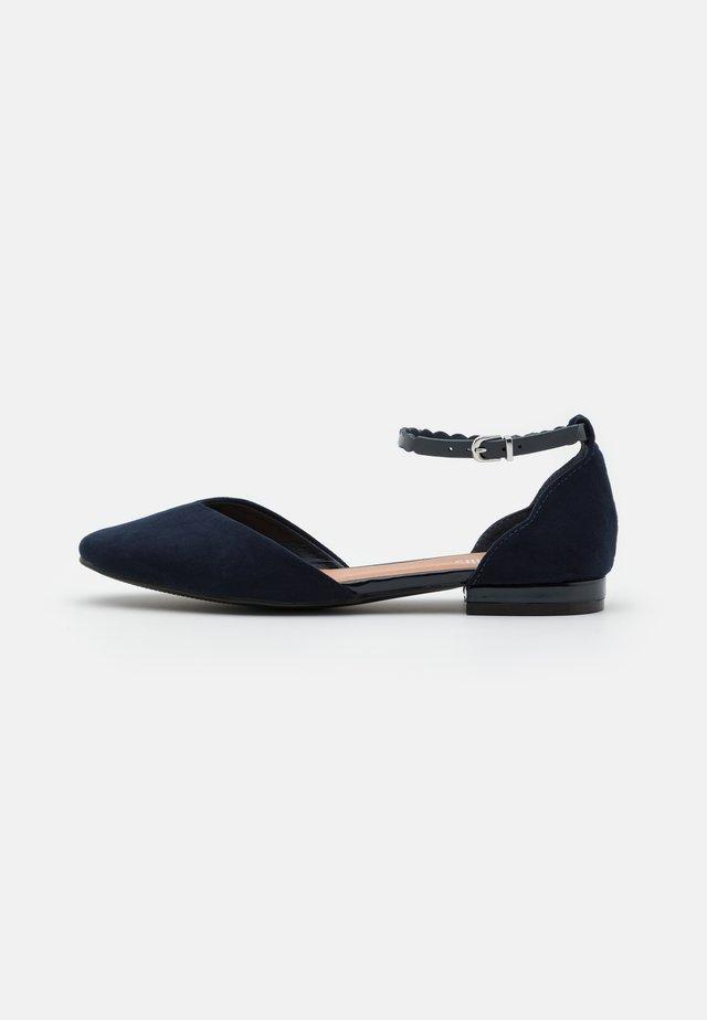 BAKER - Ankle strap ballet pumps - navy