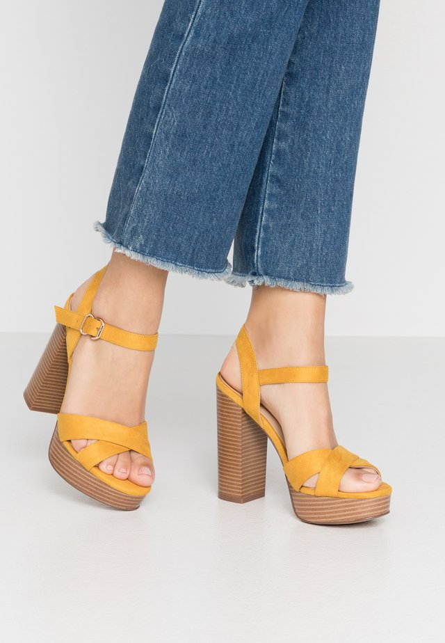 ONLALLIE CROSSED NATURE - High heeled sandals - yellow