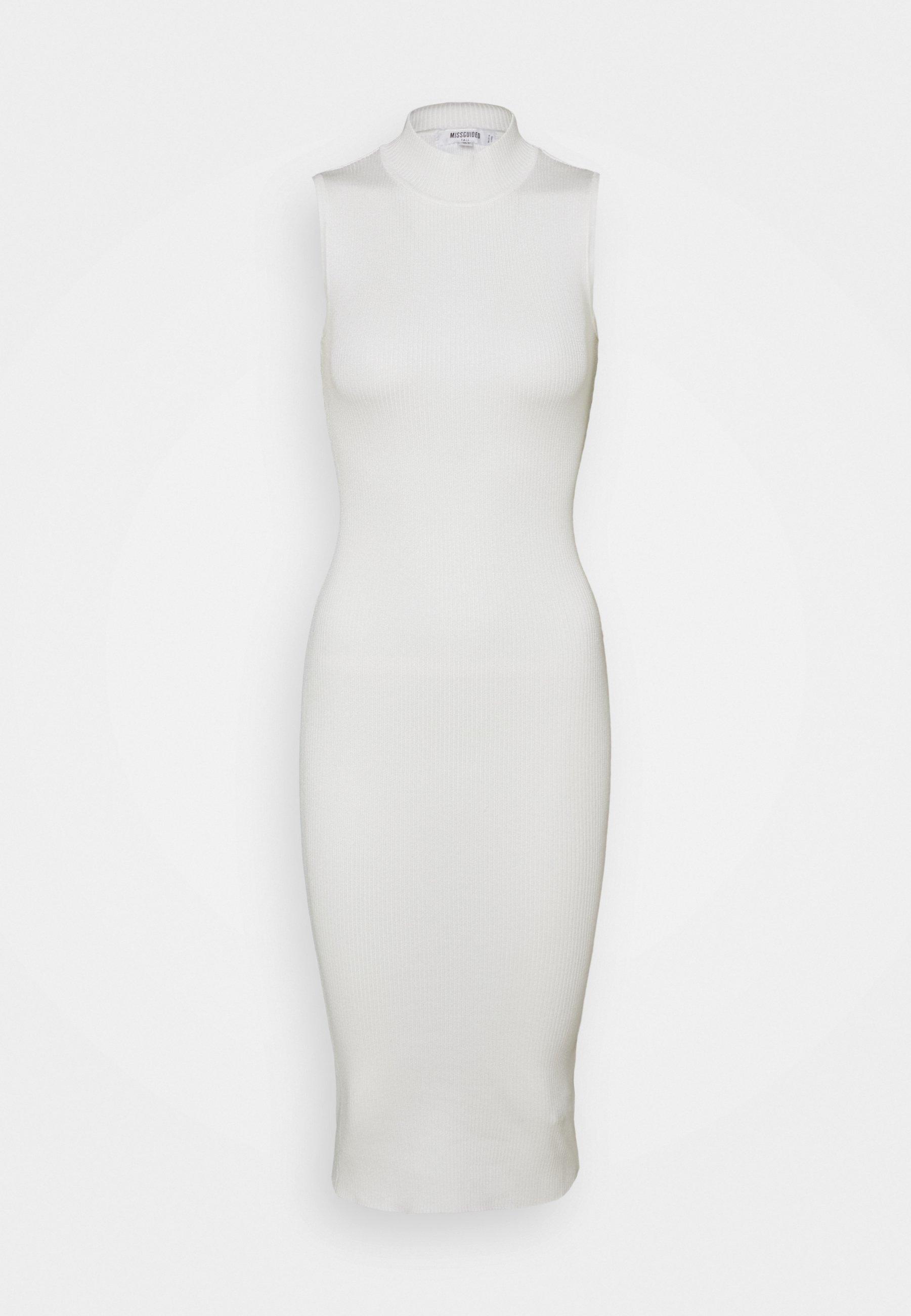 Women HIGH NECK RIBBED BACKLESS MIDI DRESS - Shift dress