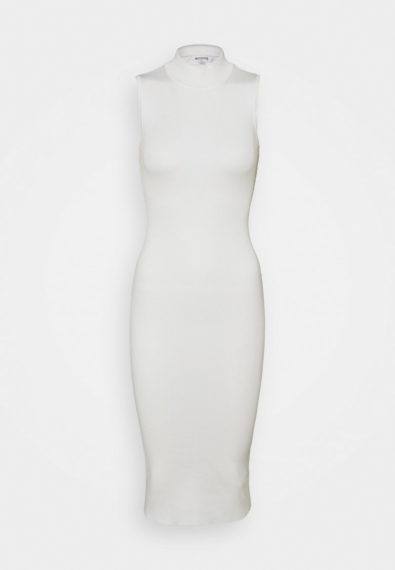 Missguided Tall - HIGH NECK RIBBED BACKLESS MIDI DRESS - Tubino - white
