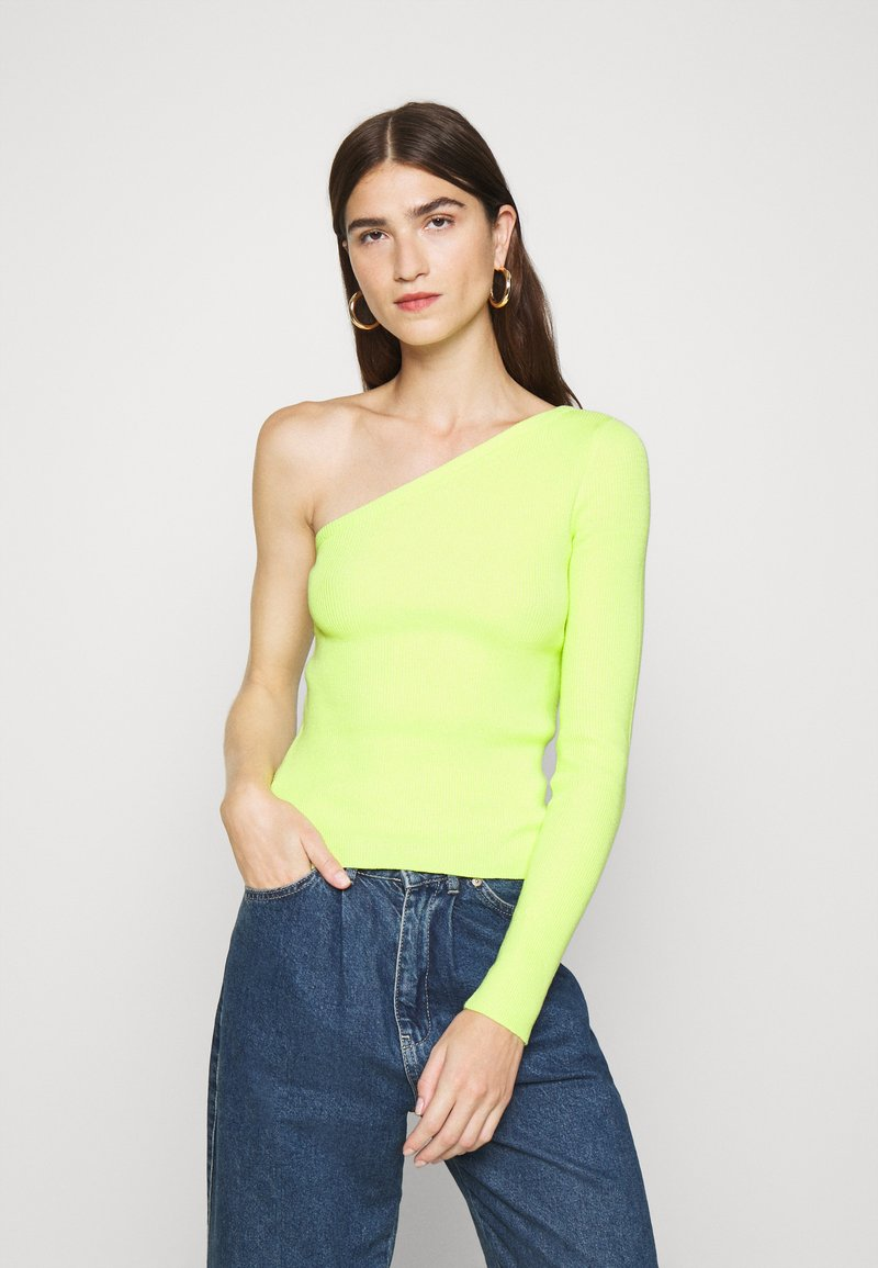 Who What Wear - ONE SHOULDER LONG SLEEVE - Jumper - key lime