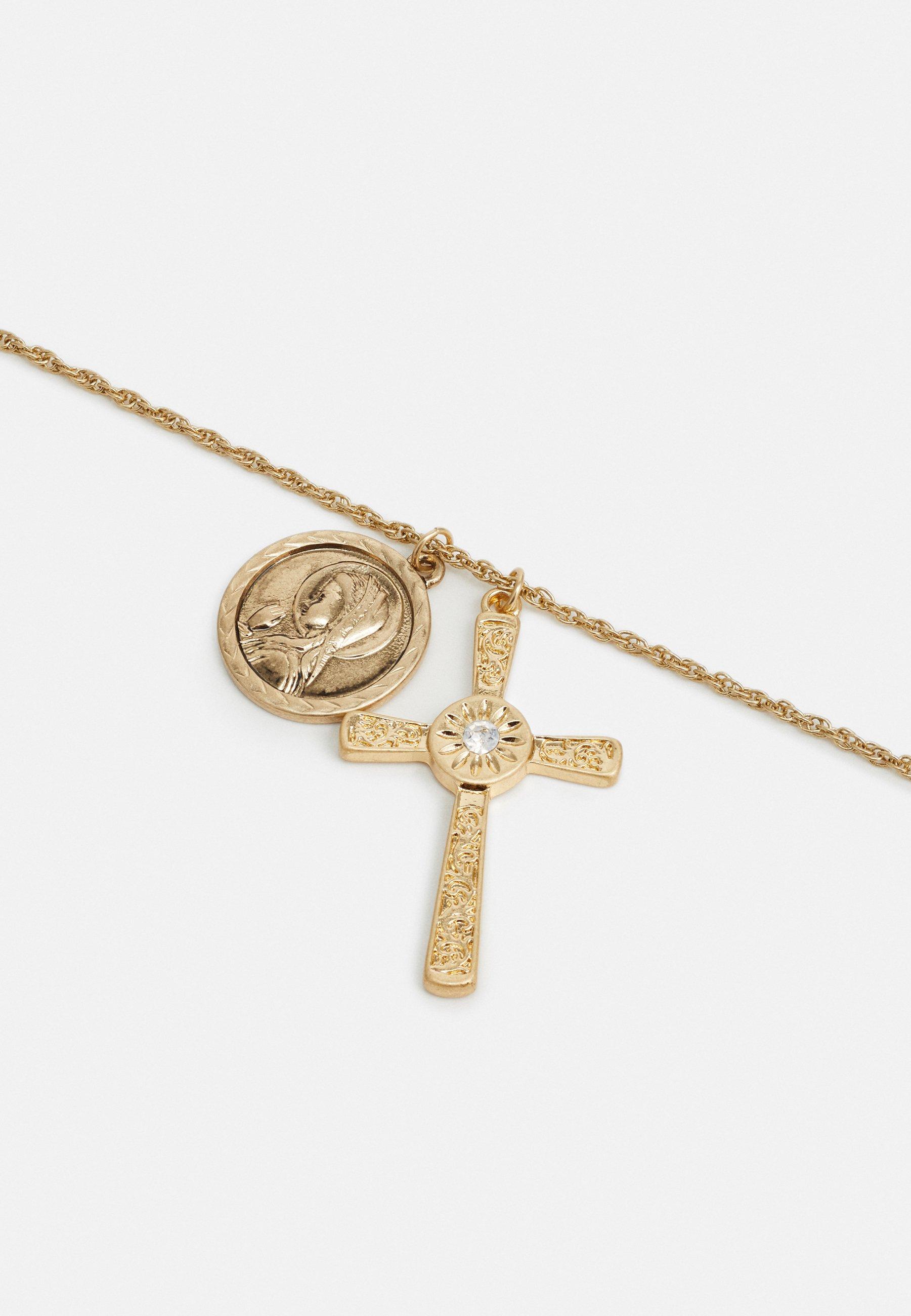 Burton Menswear London CROSS CLUSTER PENDANT - Smykke - gold-coloured/gull N1DbfhARp5Byodn
