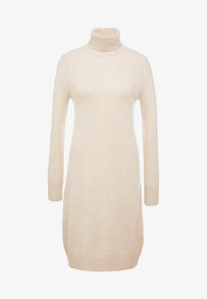TURTLE NECK DRESS - Strickkleid - oatmeal