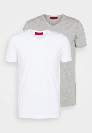 V NECK 2 PACK - Basic T-shirt - white/grey