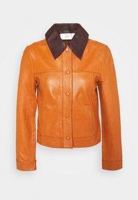Victoria Victoria Beckham - PANNEL JACKET - Leather jacket - congac brown - 7
