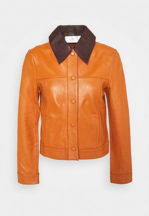 PANNEL JACKET - Leather jacket - congac brown