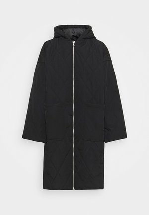 QUILTED LONGLINE COAT - Zimní kabát - black