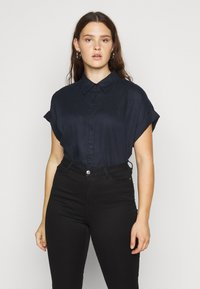 Lauren Ralph Lauren Woman - BROONO SHORT SLEEVE - Button-down blouse - navy - 0