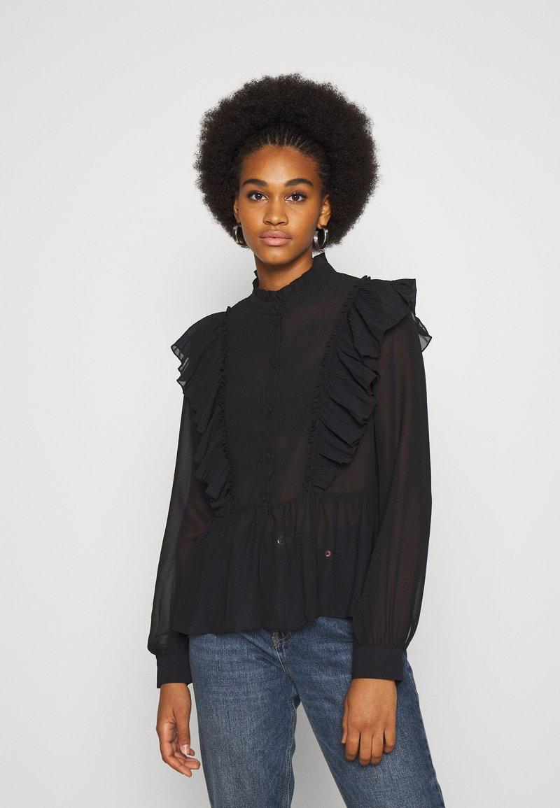 Vero Moda - VMIRIS FRILL  - Button-down blouse - black