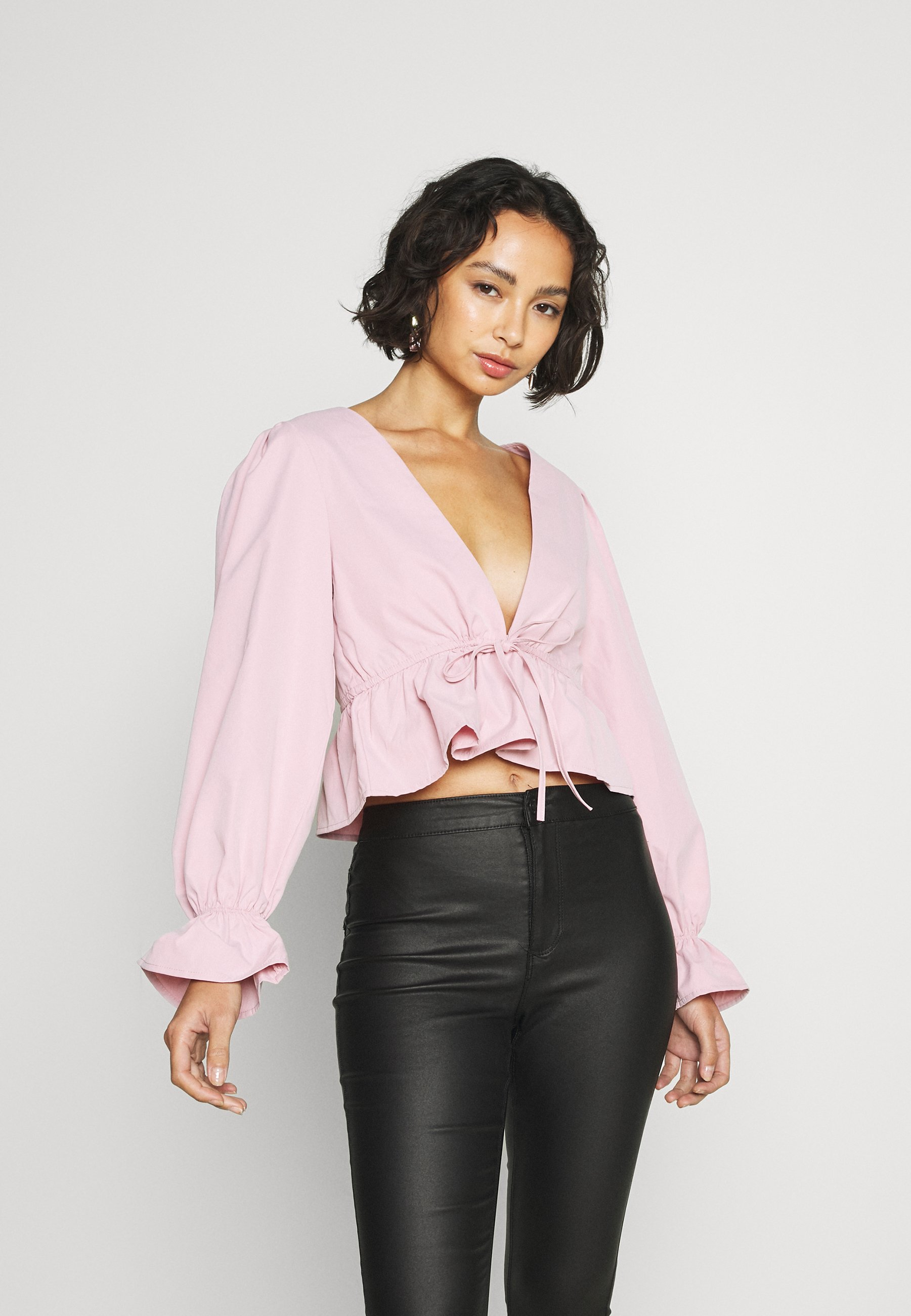 Women PLUNGE TIE FRONT PUFF SLEEVE  - Blouse