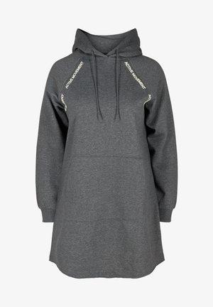 MIT KAPUZE UND TASCHE - Day dress - dark grey melange