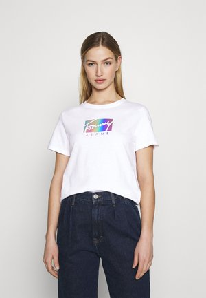 REGULAR METALLIC BOX TEE - Print T-shirt - white