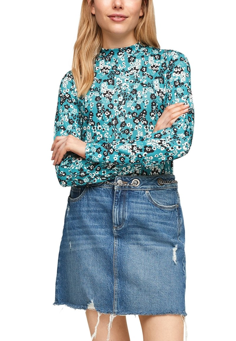 Q/S designed by - Long sleeved top - turquoise aop