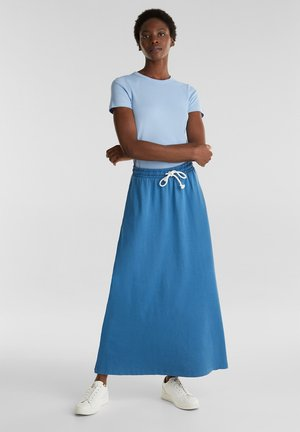 SLUB-JERSEY-ROCK AUS 100% ORGANIC COTTON - Maxi skirt - bright blue