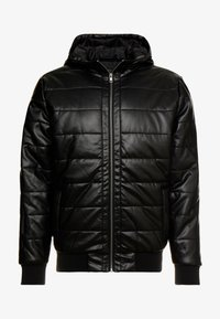 HOODED BUBBLE JACKET - Imitatieleren jas - black