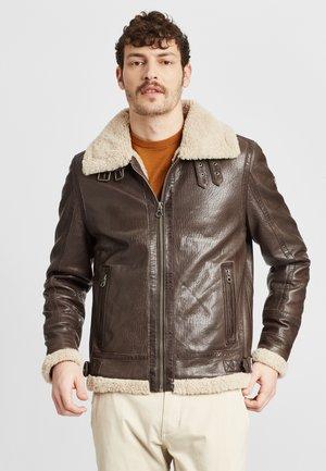 GMAIRFORCE NSLAV W - Leather jacket - dark brown