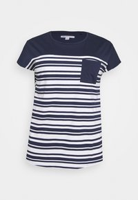 CAPSULE by Simply Be - CURVED HEM TEE WITH BUTTON DETAIL - T-shirts med print - black/ivory stripe - 5
