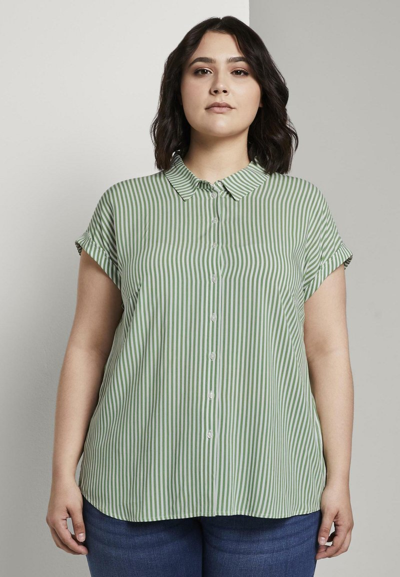 MY TRUE ME TOM TAILOR - SHORT DROP SLEEVE  - Button-down blouse - green offwhite stripes