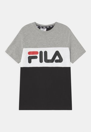 MARINA BLOCKED UNISEX - T-shirt print - black/light grey melange/bright white