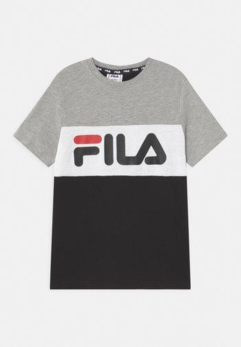 MARINA BLOCKED TEE UNISEX - Print T-shirt - black/light grey melange/bright white