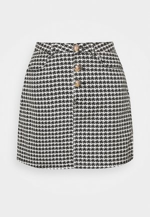 HOUNDSTOOTH SKIRT - Mini skirt - black