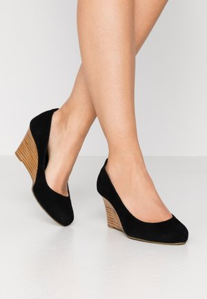 WIDE FIT ALLIXE - Wedges - black