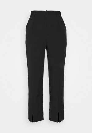 SPLIT FRONT CIGARETTE TROUSER - Trousers - black