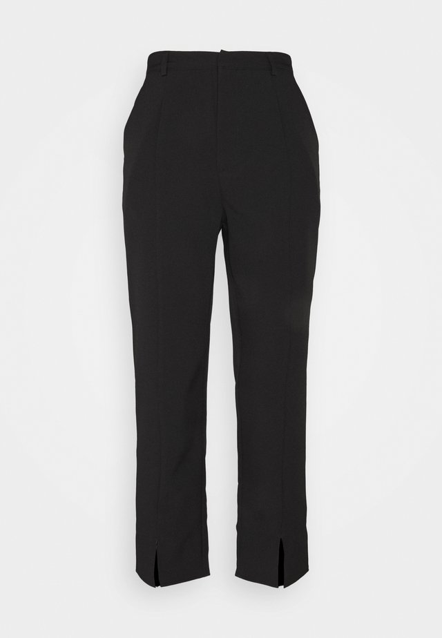 SPLIT FRONT CIGARETTE TROUSER - Pantaloni - black