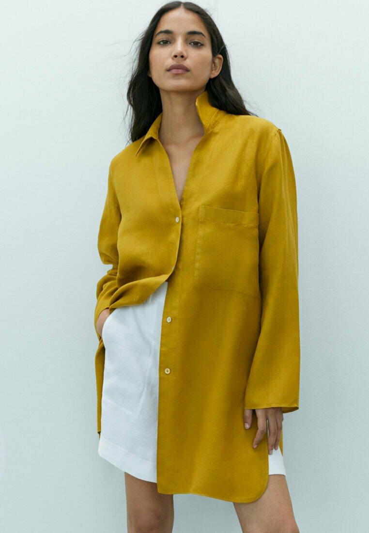 Massimo Dutti - Button-down blouse - mustard yellow