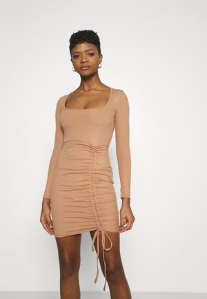 RUCHED FRONT LONG SLEEVE MINI DRESS - Jersey dress - camel