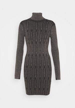 CABLE DRESS - Shift dress - black/gold