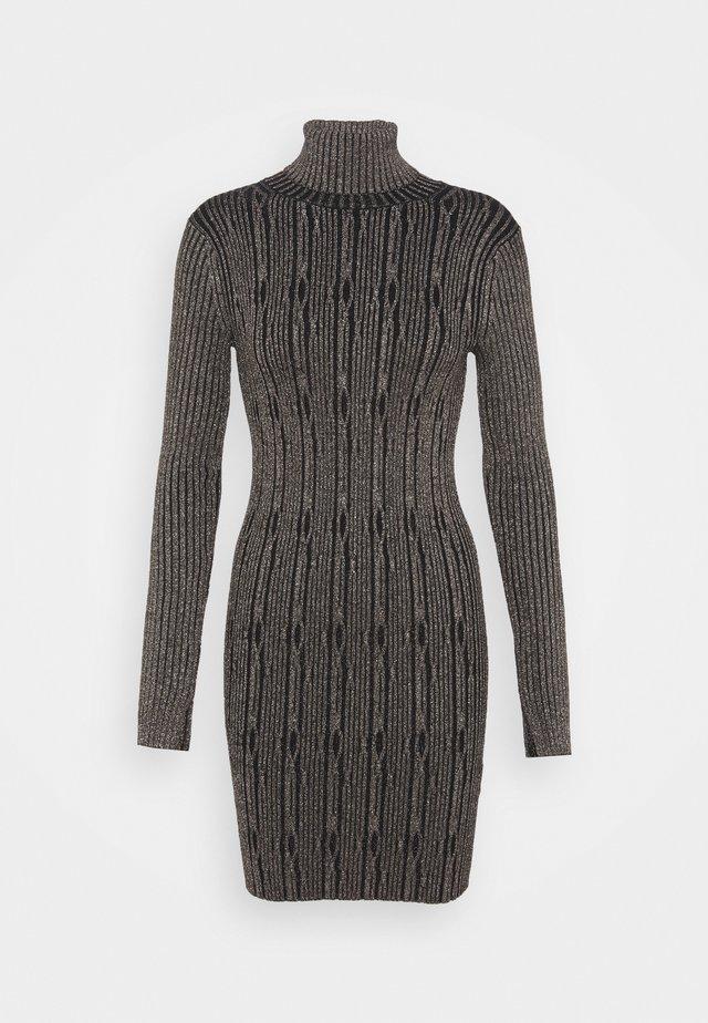CABLE DRESS - Robe fourreau - black/gold