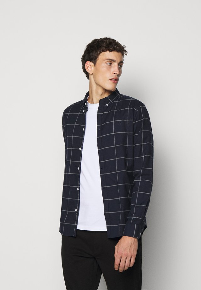 HARRISON CHECK BRUSHED - Shirt - dark navy/light grey melange