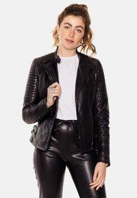 LEATHER HYPE - ÉLYSÉE PERFECTO - Leather jacket - black - 0
