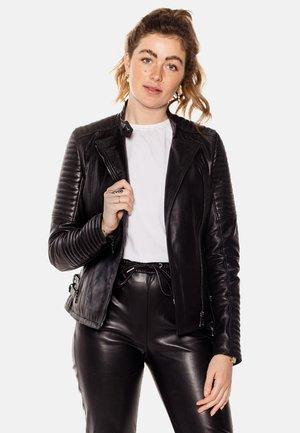 ÉLYSÉE PERFECTO - Leren jas - black with dark silver accessories