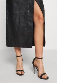 Topshop - LEAT WRAP PENCIL - Pencil skirt - black - 3