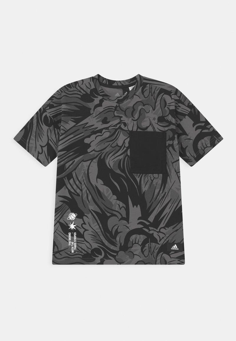 adidas Performance - TEE UNISEX - T-shirt print - black/white